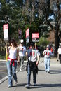 Writers guild of america strike i picketers the in front nbc studios in burbank california on january th Stock Images