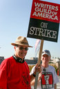 Writers guild of america strike j picketers the in front nbc studios in burbank california on january th Royalty Free Stock Photo