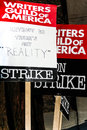 Writers guild of america strike k picket signs the in front nbc studios in burbank california on january th Royalty Free Stock Photo