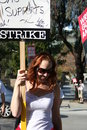 Writers guild of america strike l picketers the in front nbc studios in burbank california on january th Royalty Free Stock Photography