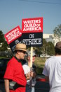 Writers guild of america strike m picketers the in front nbc studios in burbank california on january th Royalty Free Stock Photo