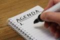 Agenda in spiral bound notebook