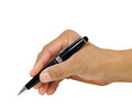 Writing with black pen holding a for isolated over white background Stock Image
