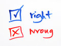 Writing check box wrong or right on white background Royalty Free Stock Photo