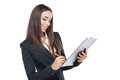 Writing down something close up of young business lady with tablet Royalty Free Stock Photography
