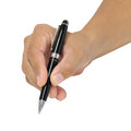 Writing holding a pen for isolated over white background Royalty Free Stock Photos