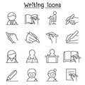Writing icon set in thin line style Royalty Free Stock Photo