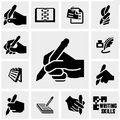 Writing icons set on gray. Royalty Free Stock Photo