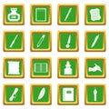 Writing icons set green