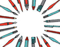 Writing instrument facing blank center background cartoon illustration of a pen and pencil set Stock Photography