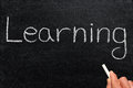 Writing learning on a blackboard the word Royalty Free Stock Photography