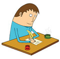 Writing letter illustration of a man Stock Image