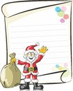 Writing a letter to santa funny postcard for children write their wish list of toys and gifts claus smiling claus holding in his Royalty Free Stock Image