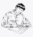 Writing a letter young man sitting at the table and ink drawing Royalty Free Stock Image