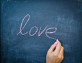 Writing love with chalk Royalty Free Stock Photo