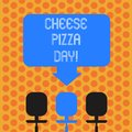 Writing note showing Cheese Pizza Day. Business photo showcasing date started Greeks covered bread with oils herb and Royalty Free Stock Photo