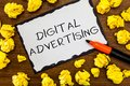 Writing note showing Digital Advertising. Business photo showcasing Online Marketing Deliver Promotional Messages