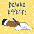 Writing note showing Domino Effect. Business photo showcasing Chain reaction that causing other similar events to happen Royalty Free Stock Photo