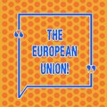 Writing note showing The European Union. Business photo showcasing EU to which the member states of the EEC are evolving Round Royalty Free Stock Photo