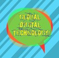 Writing note showing Global Digital Technology. Business photo showcasing Digitized information in the form of numeric code Blank