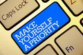 Writing note showing Make Yourself A Priority. Business photo showcasing Think in your own good first personal development Golden Royalty Free Stock Photo