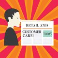 Writing note showing Retail And Customer Care. Business photo showcasing Shopping assistance store helping services Man Royalty Free Stock Photo