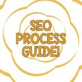 Writing note showing Seo Process Guide. Business photo showcasing set actions improve online visibility website in