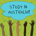 Writing note showing Study In Australia. Business photo showcasing going into foreign country order complete your