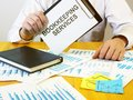 Writing note shows the text bookkeeping services Royalty Free Stock Photo