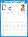 Writing practice letter D