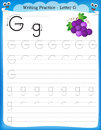 Writing practice letter G