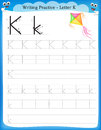 Writing practice letter K Royalty Free Stock Photo