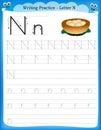 Writing practice letter n printable worksheet with clip art for preschool kindergarten kids to improve basic skills Stock Photography