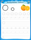 Writing practice letter o printable worksheet with clip art for preschool kindergarten kids to improve basic skills Royalty Free Stock Images
