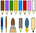Writing tools icons Stock Photos