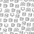 Writing tools line seamless pattern - creative background design Royalty Free Stock Photo