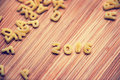 2016 written with alphabet pastas on wood Royalty Free Stock Photo