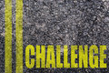 Written challenge on the road asphalt texture Royalty Free Stock Image