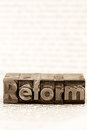 Written reform in lead letters the word photo icon for quick correspondence Royalty Free Stock Photography