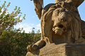 Wroclaw lion close up of a a sunlit stone growling statue in poland Stock Photo