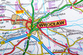 Wroclaw map the city of in detail on the Royalty Free Stock Images