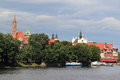 Wroclaw scenery the towers of s churches seen across the wisla river poland Stock Photography
