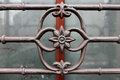 Wroght iron bar ornamental detail security with Royalty Free Stock Photography