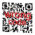 Wrong QR code broken into pieces  Royalty Free Stock Photo