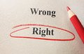 Wrong and right red circle pencil with text Stock Photography
