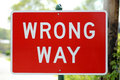 Wrong Way Sign Stock Photography