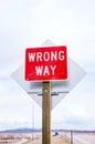 Wrong way sign at a highway Royalty Free Stock Photo