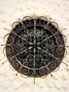 Wrought iron circular window classic Stock Photo