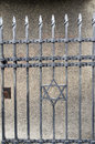 Wrought iron entry gate to jewish museum prague czech republic star of david Royalty Free Stock Images