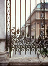 A wrought iron fence near the hungarian national gallery budapest Stock Photo